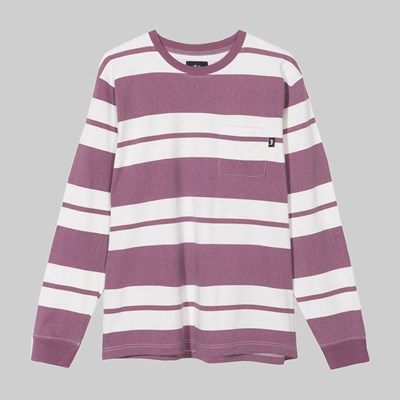 STUSSY FRANKLIN STRIPE LONG SLEEVE CREW BERRY